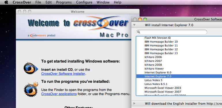 CrossOver til Mac. www.codeweavers.com