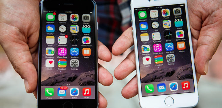 Apples iPhone 6 i sort og hvid. Billede fra CNET
