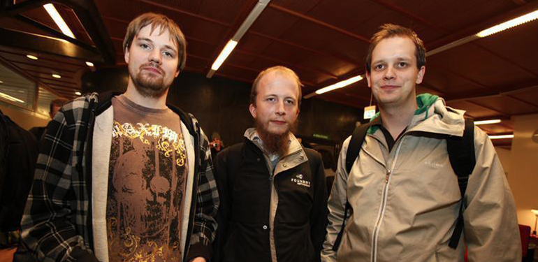 Fredrik Neij (TiAMO), Gottfrid Svartholm (anakata) og Peter Sunde (brokep).