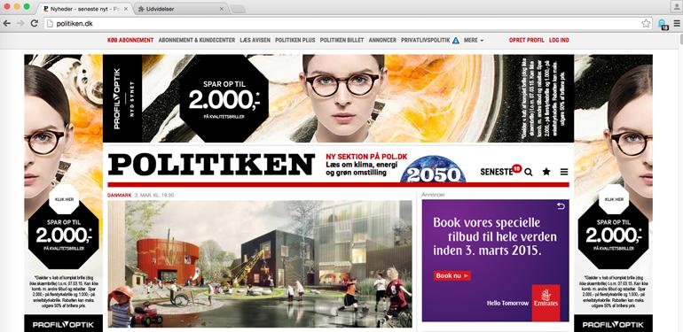 Sådan ser forsiden på politiken.dk ud, når vi ikke har blokeret content