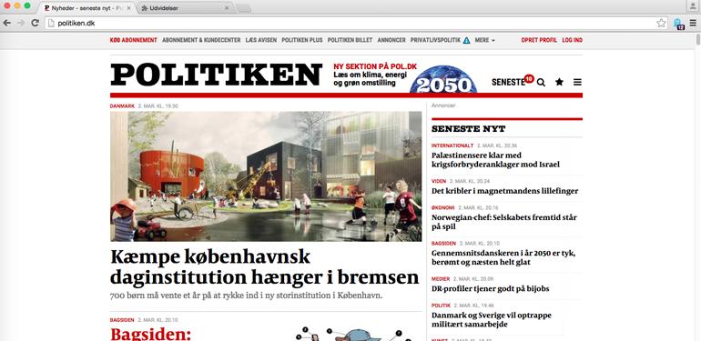 Politiken.dk med reklamer slået fra