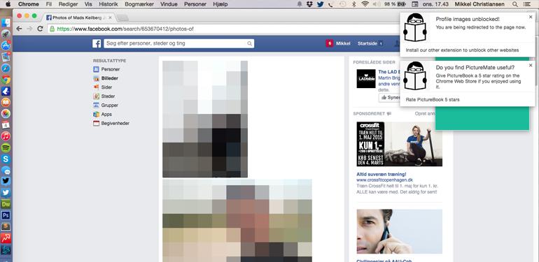 PictureMate finder billeder af dig på Facebook.