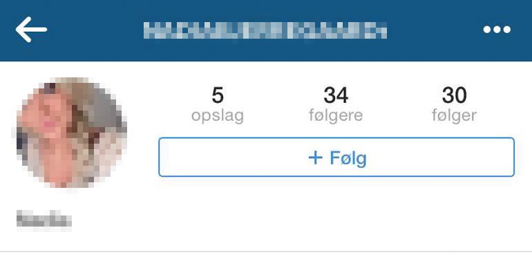 Instagram profilen gav et fuldt navn.